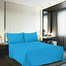 Solid Uni Microfibre Bed Sheets Flat Sheet Slim Fitted Cushion Cover Sky-Blue