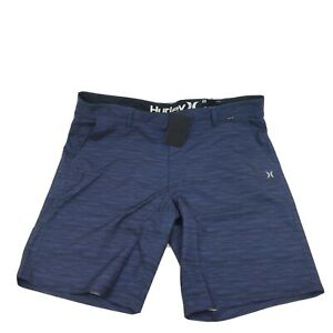 "Hurley Men 20"" Peacoat Blue Black Hybrid Walk Shorts Size 36"""