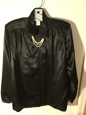 Impressions Long Sleeved Embellished Satin Like Blouse in Black - Size 10 (291)