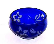 VINTAGE RUSSIAN COBALT BLUE CUT TO CLEAR GLASS VASE DISH