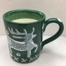 Deer Coffee Mug Ceramic Cup Green White Bath And Body Works Home Hand Painted