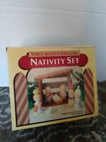 Vintage 9 Peice Wood And Porcelian Nativity Set. Christmas bab Jesus NOS
