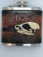 6oz hipflask with Raven skull  leather sleeve