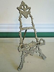 """Vintage Ornate Cast Metal Table Top Easel Display Book Picture Plate 13.5"""""""