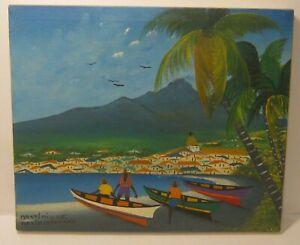 Island Art OIL Painting on Canvas VILLAGE SEASCAPE Martinique SIGNED Excellent!!