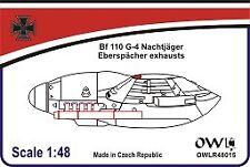 Owl 1/48 Messerschmitt Bf-110G Eberspacher Exhausts (Last Version) # R4815