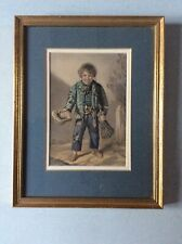 Framed George Baxter print of a boy with broom and outstretched hat (1853)