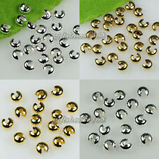 3mm,4mm,5mm Silver/Gold plated Copper Crimp Knot Cover End Beads Findings 500pcs