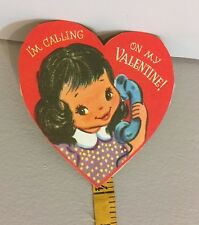 "Vtg Valentine Card Little Dark Hair Girl Old Telephone ""I'm Calling"" Unused"
