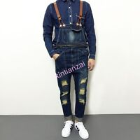 C18 Mens Cowboy Slim Fit Jeans Overall Denim Suspender Trousers Pant Ripped Hole
