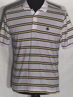 Brooks Brothers 346 White Yellow Black Striped Medium M Short Sleeve Polo Shirt