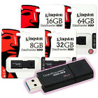Kingston DT100G3 8GB 16GB 32GB 64GB Data Traveler 100 G3 USB 3.0 Flash Drive