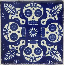 "Handmade Mexican Tile Sample Talavera Clay 4"" x 4"" Tile C395 Blue Skull"