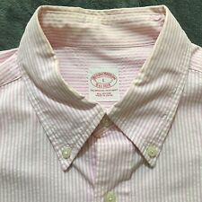 Brooks Brothers Pink Striped Button Shirt Long Sleeve Large A01