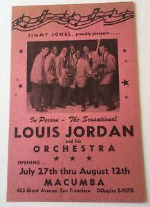 1950's Louis Jordan At The Macumba San Francisco Handbill Rare