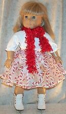 """Doll Clothes Made 2 Fit American Girl 18"""" inch Ice Skate 3 Pc Set Candy Cane"""