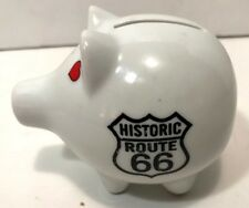 Route 66 Historic Souvenir Small Piggybank Ceramic w Heart Eyes Nose Tail Cute