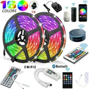 RGB 5050 Smart LED Strip Lights Color Changing W/ Wifi OR Bluetooth Xmas Party
