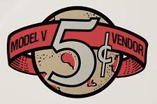 VICTOR MODEL V VENDOR ,5 CENT. VENDING, COINOP, WATER SLIDE DECAL # DV 1010
