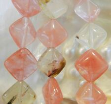 carré diagonal, 14x14x6mm, tourmaline pastèque, bijou, meuble, perles, 38cm