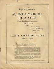 BROCHURE PUBLICITAIRE CYCLE GYCOUR AU BON MARCHE DU CYCLE PARIS TARIFS MARS 1920