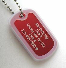 PERSONALIZED Dog Tag Necklace VERTICAL Wording RED with CLEAR Silencer