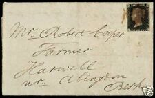 1840 年 世界第一枚郵票 黑便士 英國本國寄遞封 實寄封  Stamp Cover