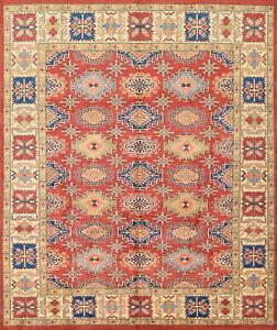 Geometric Kazak Rug, 8'x10', Red/Beige, Hand-Knotted Wool Pile