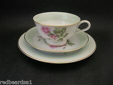 Noritake Vintage China Harlequin Roses Trio Tea Cup Saucer Plate RC c1950s Japan