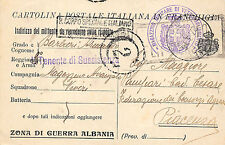 X979) WW1 CARTOLINA POSTALE ITALIANA IN FRANCHIGIA ZONA DI GUERRA ALBANIA.