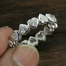 Certified 4.00 Ct  Heart Shape Diamond Wedding Ring 10k White Gold.