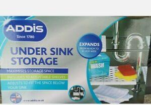 New white Addis 2 Shelf Under Sink Storage Unit - Expandable Adjustable