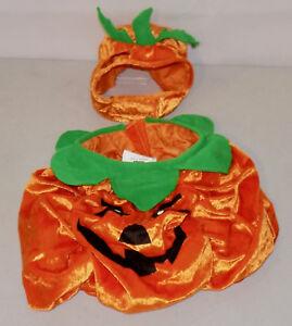 Orange Velour Pumpkin Halloween Dog Costume by Dickens Closet Medium 2 pc