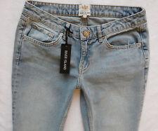 326a0d72176 River Island Ladies Jeans Size 10 S Girlfriend Crop Knee Slit Rip Light  30 26