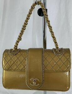 CHANEL Madison Quilted Classic Bag With Flap Gold Patent Leather Chain Link