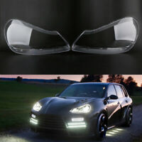 Headlight Lens Cover Transparents Shell Right+Left For Porsche Cayenne 2008-2010