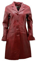 Women's Classic Cherry Burgundy 3/4 Length Leather Military Trench Coat