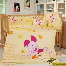 Baby Boys Girls 8 Pieces Winnie The Pooh 40S Cotton Nursery Bedding Crib Cot Set
