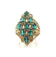 Ring With Green Emerald May Birthstones 14k Yellow Gold Women's Vintage Cocktail