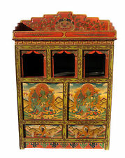 Autel bouddhiste- meuble tibetain-2 tiroirs peint a la main-121x85cm Nepal- 3370
