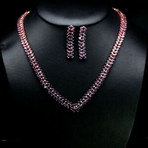 """NATURAL SET! 3 X 4 mm. PEAR PINK AMETHYST NECKLACE 21"""" WITH EARRINGS 925 SILVER"""