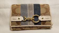 COACH Women's Wallet Heritage Brown Blue Suede Stripe Gold Clasp 11 Pockets