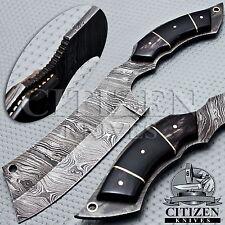 BEAUTIFUL CUSTOM HAND MADE DAMASCUS STEEL HUNTING KNIFE HANDLE BULL HORN