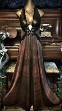 Vintage Upcycle Sheer Chiffon Pleat Lace Bronze Nightie Long Slip Gown Set L 38