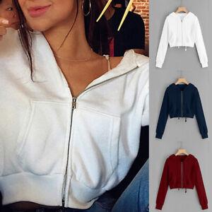 Women Plain Hooded Cropped Hoodie Tops Ladies Sweatshirt Zip Up Jacket Jumper BL