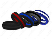 Womens Striped Silicone Wedding Ring Band Skin-Safe Cute Athletic Active Wear