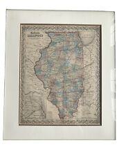 New ListingIllinois, Colton's Maps, 1855, Authentic Illinois Map