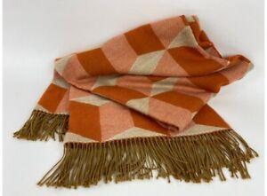 Jonathan Adler Throw Blanket Alpaca Fringe Geometric Square Design Burnt Orange