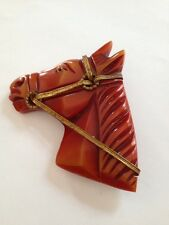Vintage large Bakelite horse head pin brooch, tested with simichrome (G777)
