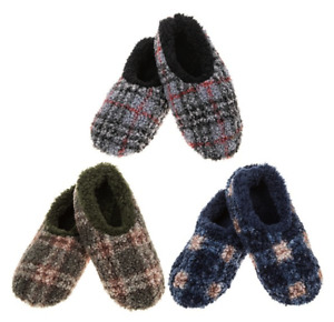 Men's Snoozies Slippers Checked Soft Boucle Style Uk 6-11 Sizes Gift Dad Son